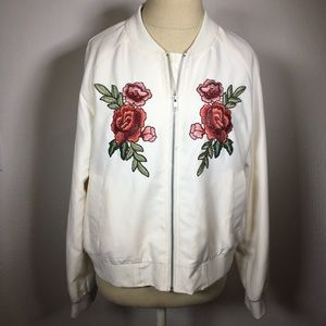 Saks 5th Ave bomber jacket w/ roses 🌹